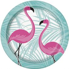 8 Pink Flamingo Paper Party Plates